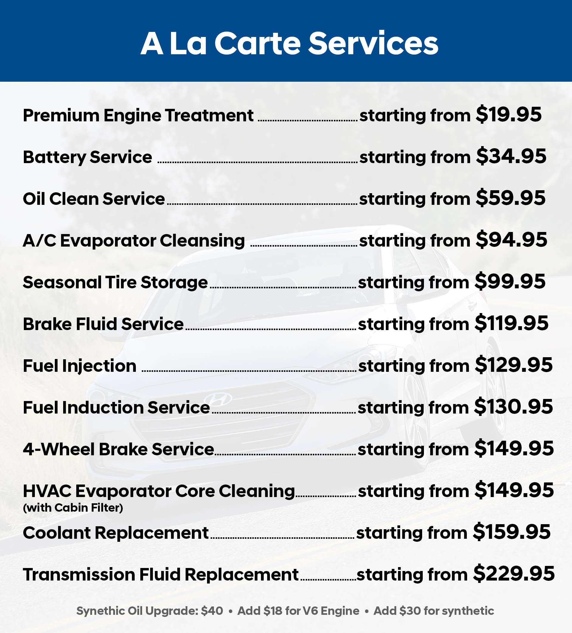 Maintenance Schedule Service Pricing Service Pricing Alacarte