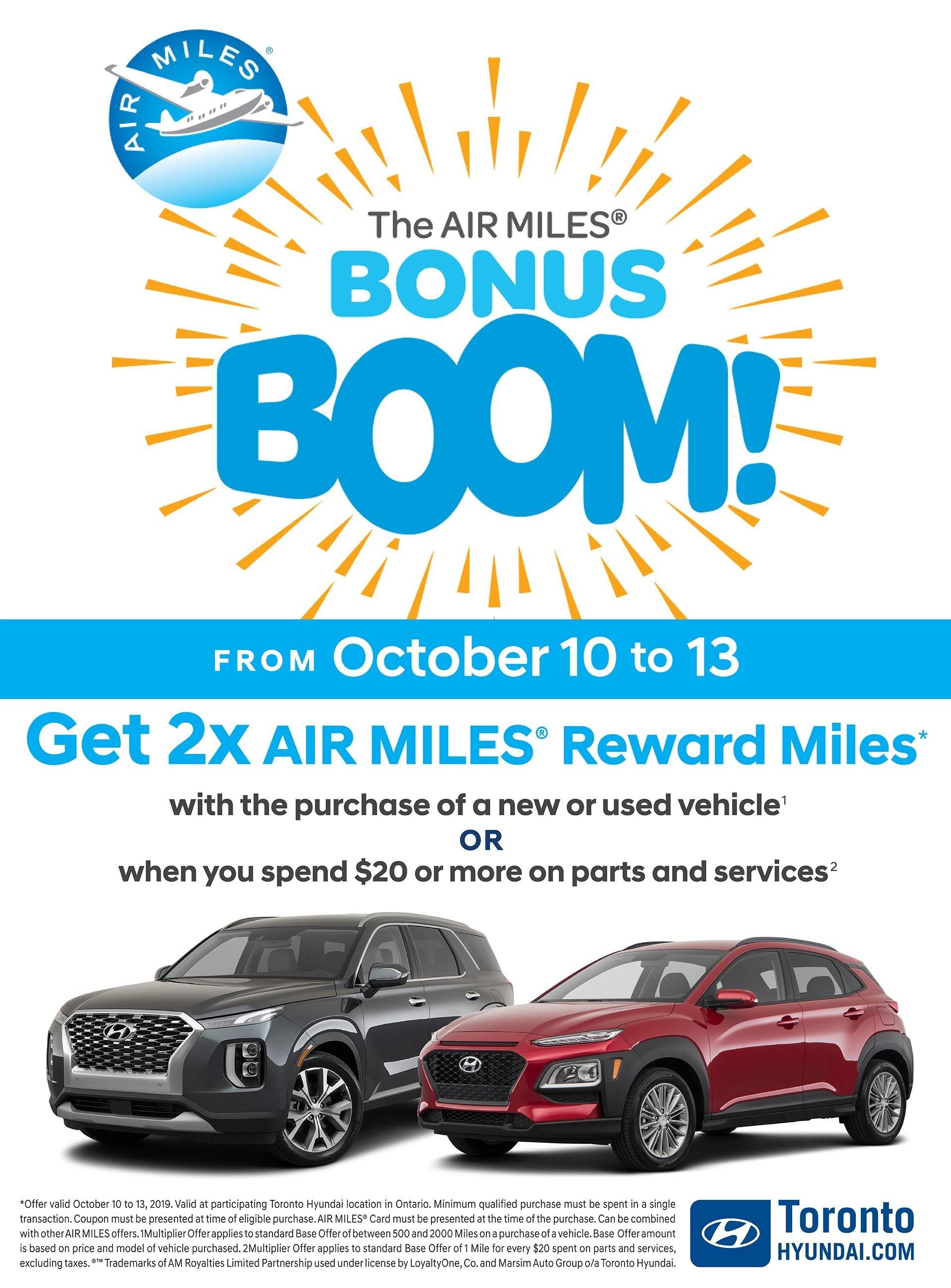 October Bonus Boom Air Miles